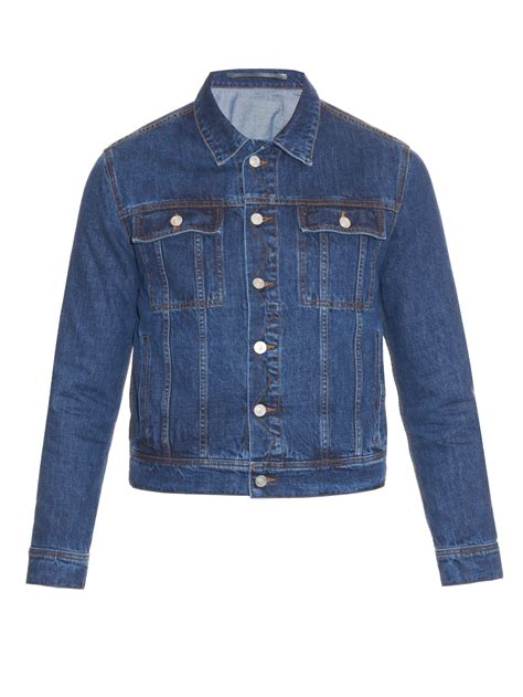 Denim Buttoned Embroidered Jacket kenzo embroidered back denim jacket in blue for lyst