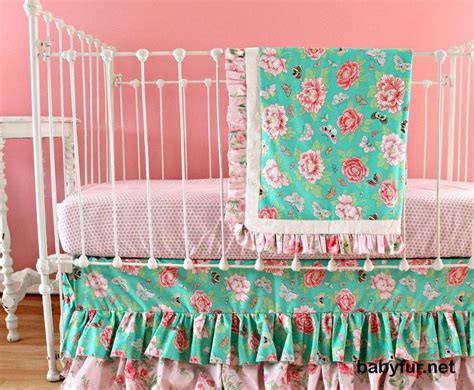 Mint And Coral Crib Bedding Mint And Coral Bumperless Crib Bedding Set For Baby Nursery 3 Baby Bedding Set