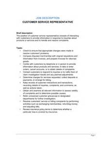customer service duties for resume customer service representative description template