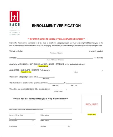 College Enrollment Verification Letter Template verification of enrollment sle letter images