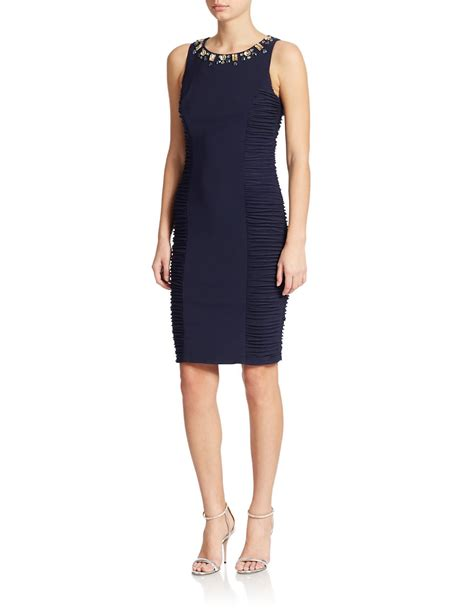 Beaded Sheath Dress lyst eliza j beaded neck sheath dress in blue