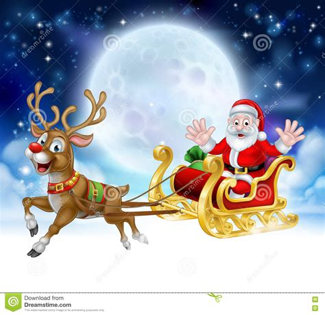 animated photos of christmas santa claus with reindeer santa reindeer sleigh stock vector illustration of deers ground 75461902