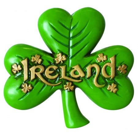 antique magnet of large shamrock and gold ireland text and