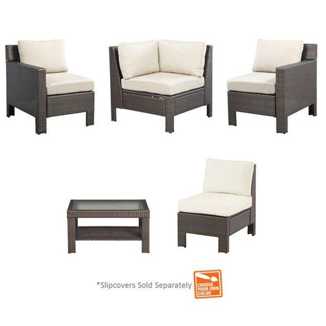 hton bay beverly 5 piece patio sectional seating set
