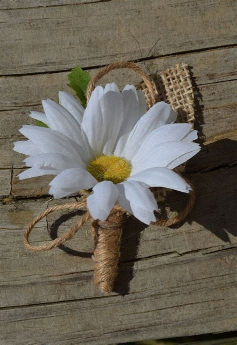 Daisy and Burlap Boutonniere Rustic Buttonhole by