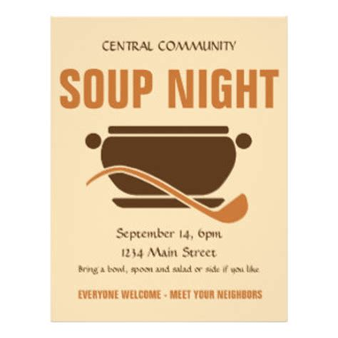 soup template dinner flyers leaflets zazzle au