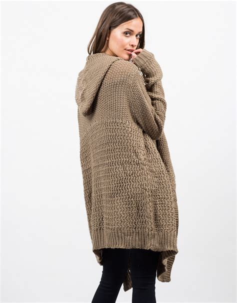 open stitch sweater open stitch hooded cardigan knit cardigan brown