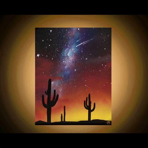 spray painting sky desert paintings arizona landscape cactus silhouette
