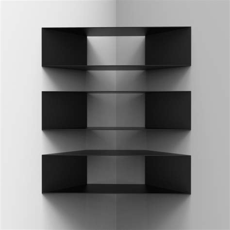 black shelves that floating shelves in position corner
