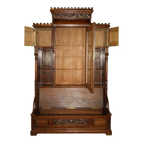 bench bookcase gothic revival bookcase with bench and storage circa 1875