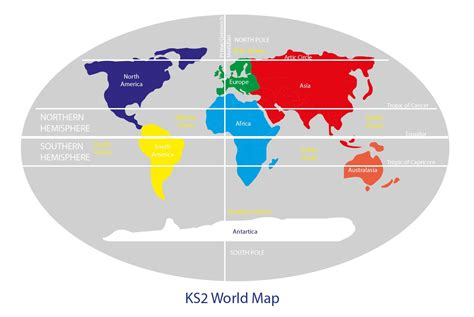 key stage  world map  continents equator northern