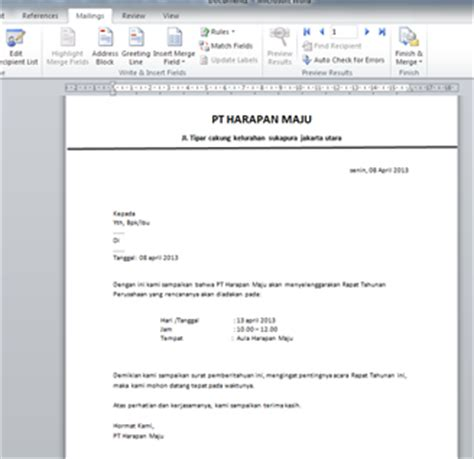 membuat mail merge surat gabung ukhtifillah langkah langkah membuat mail merge pada word 2010