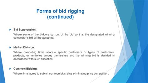 bid rigging the basics of bid rigging