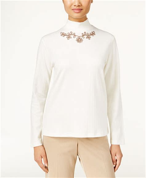 Mock Neck Embroidered Top alfred dunner embroidered mock neck top only at macy s