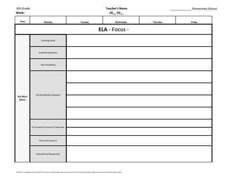 6th sixth grade common core weekly lesson plan template w