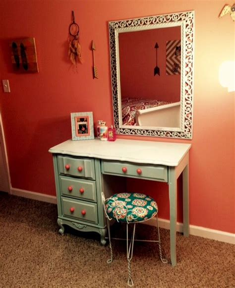 Painted Bedroom Vanity Ideas by Repurposed Desk Into A Vanity Painted Robin Egg Blue