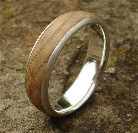 handmade wooden inlay silver ring