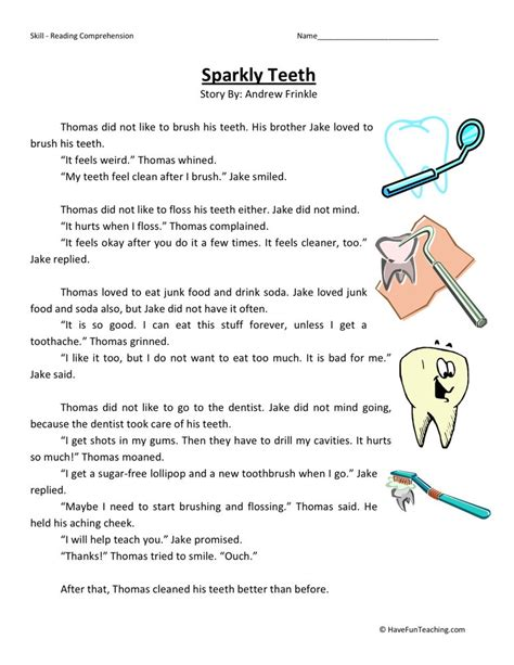 teeth worksheets for 2nd grade reading comprehension worksheet sparkly teeth