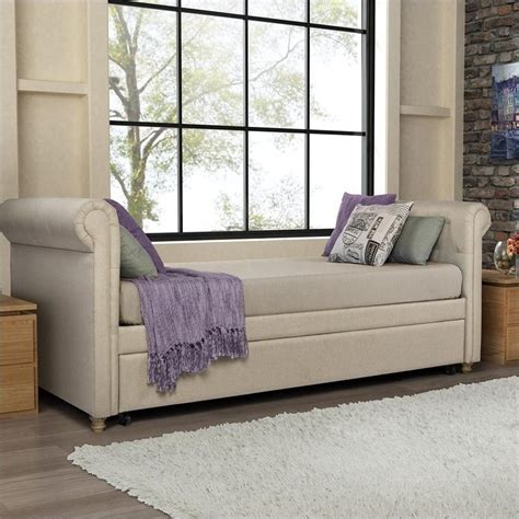 DHP Sophia Upholstered Twin Daybed with Trundle in Tan