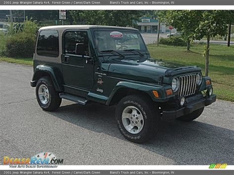 dark green jeep wrangler 2001 jeep wrangler sahara 4x4 forest green camel dark
