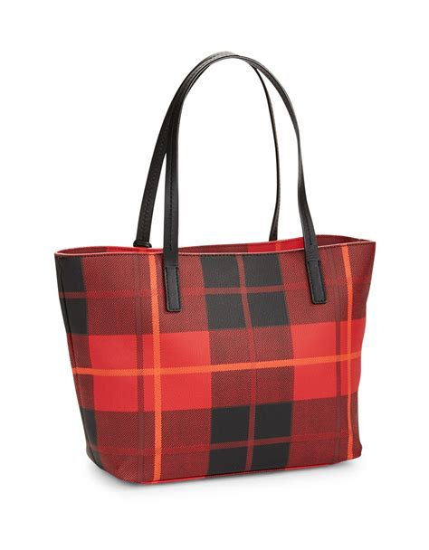 Kate Spade Two Tone kate spade small two tone plaid tote in cherry