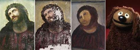 Jesus Painting Restoration Meme - botched jesus painting restoration is really a bob ross