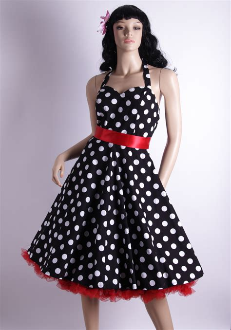 polka dot swing dress 50s polka dot bigwhitedots black halterneck swing dress