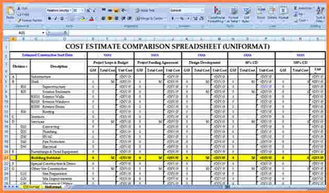 construction estimate 9 building construction estimate spreadsheet excel