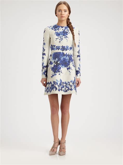 valentino floral dress in blue lyst