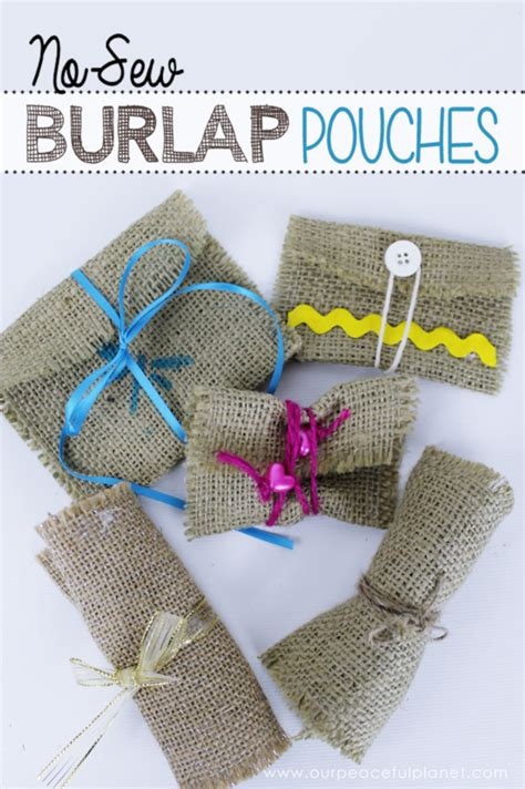burlap crafts for burlap crafts no sew pouch