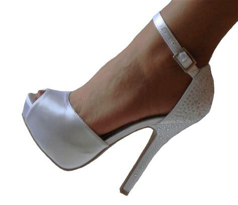 white pumps shoes white satin rhinestone platform peep toe bridal heels