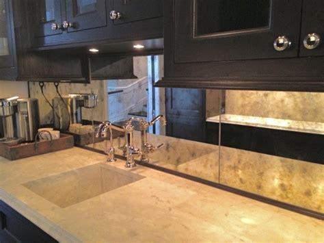 Mirror Backsplash In Kitchen Antiqued Mirror Kitchen Backsplash Kitchen Chicago By Karesh Mirrors Unlimited Inc
