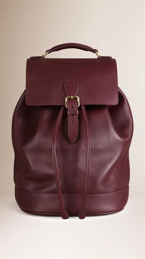leather backpack burberry grainy leather backpack mahogany in purple for lyst