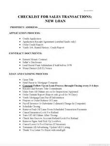 Painting Contracts Sles by Printable Checklist For Sales With New Loans Form Pdf