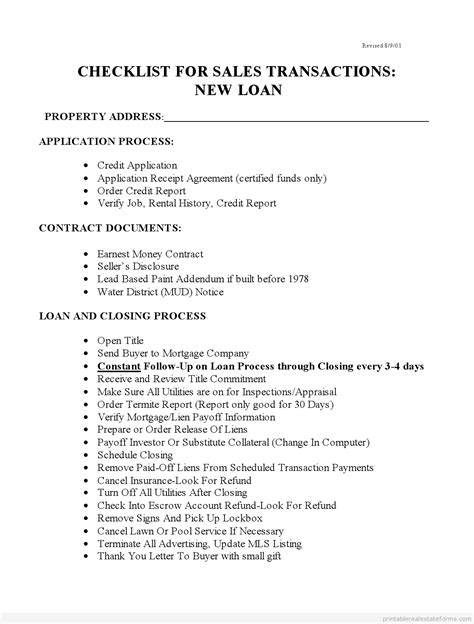 Gift Letter For Earnest Money Checklist For Sales With New Loans Leaseoption Basic