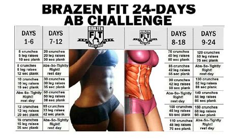 ab work out challenge brazen fit 24 day ab workout challenge fitness