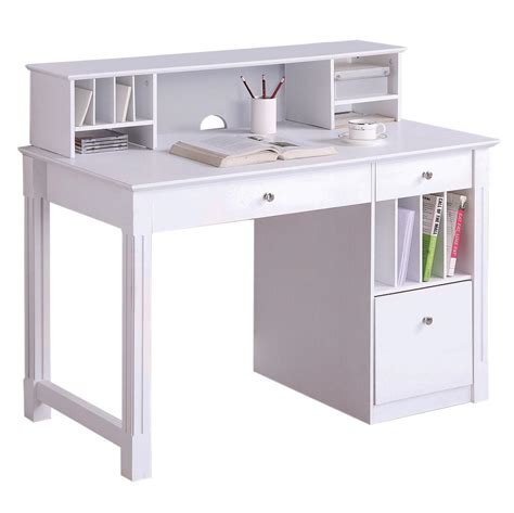 Deluxe Wood Desk With Hutch In White Office Desks Wke Desk White