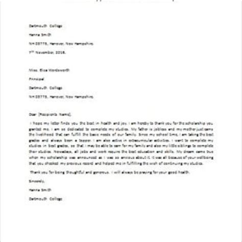 appreciation letter scholarship formal official and professional letter templates