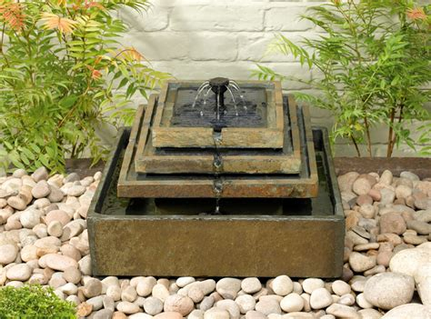 Small Chiminea Clay Solar Water Feature Stepped Slate Fountain 163 89 99