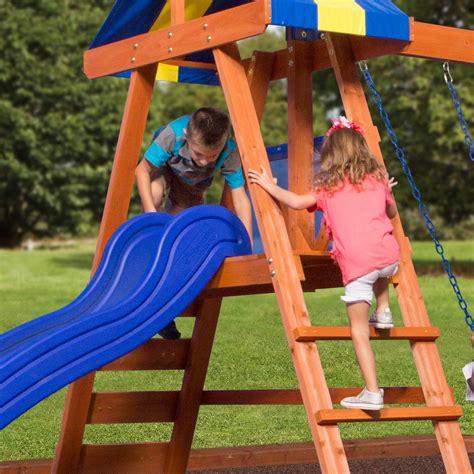 backyard discovery dayton cedar wooden swing set dayton wooden swing set playsets backyard discovery