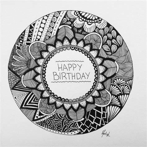 happy birthday mandala design artwork birthday card black and white card circle