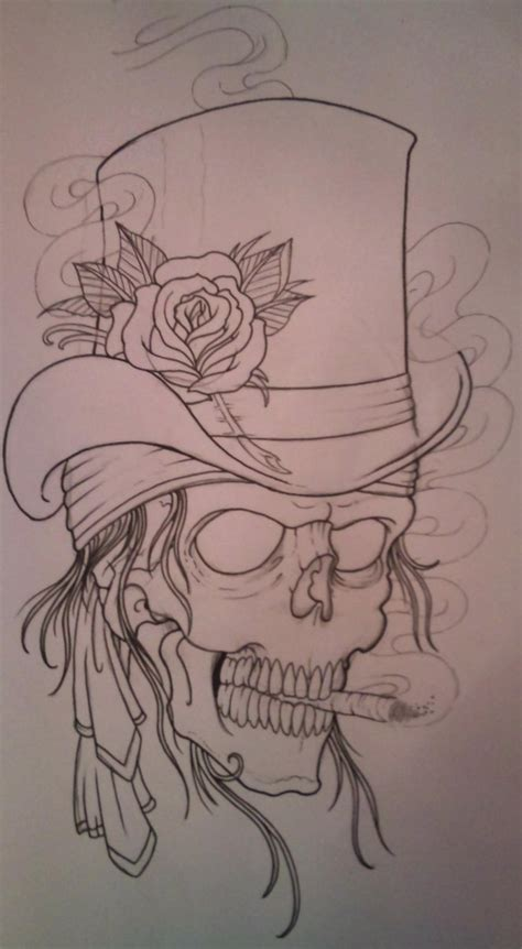 skull with hat tattoo designs flower tattoos top hat skull outline flower