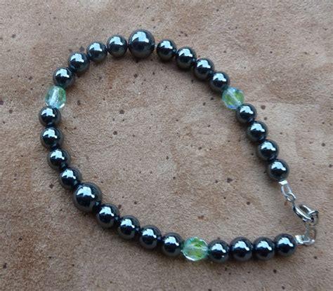 glass bead bracelet hematite and glass bead bracelet by lupagreenwolf on
