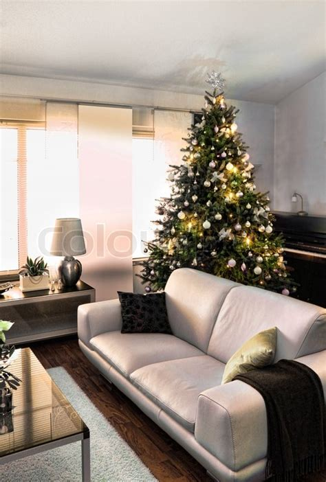 christmas tree in modern furniture home living room