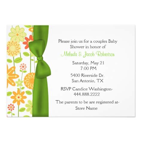 Couples Baby Shower Invitations by Stylish Floral Couples Baby Shower Invitation 5 Quot X 7 Quot Invitation Card Zazzle