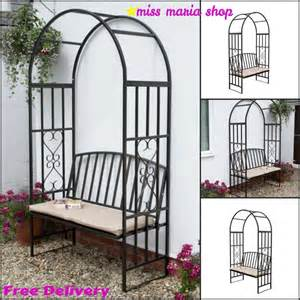 Arbor Patio Furniture Garden Steel Arbour Bench Cushion Arch Patio Furniture