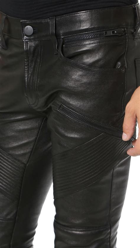 j brand leather j brand orton leather moto in black for lyst