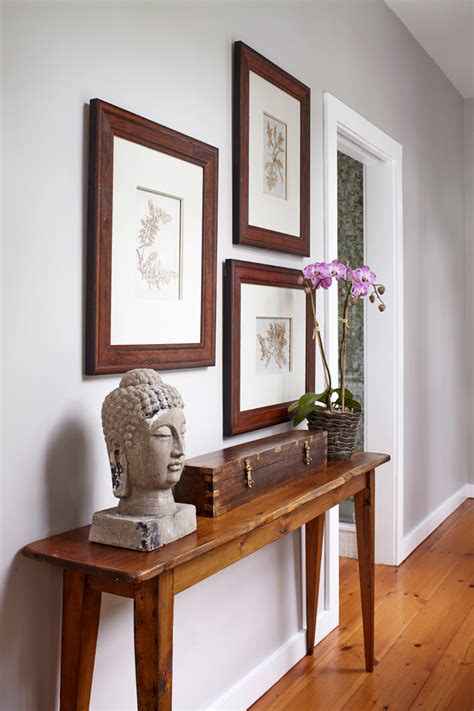 Narrow Hallway Table Narrow Table With Orchids Entry Transitional And Pewter Wall Mirrors
