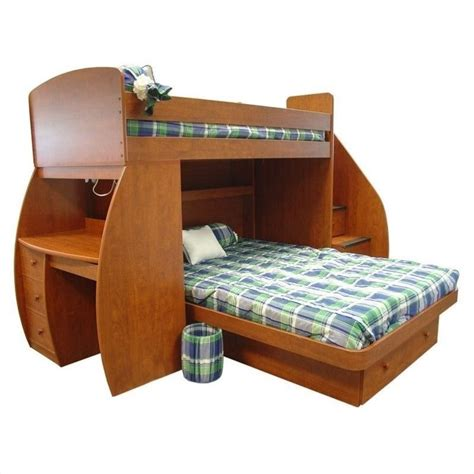 bunk bed with stairs and desk sierra space saver twin over full bunk bed 22 815 xx