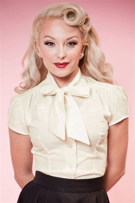 secretary hairstyles this 40s estelle linen look blouse brings out your inner
